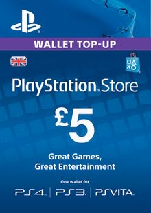 PlayStation Network Card - £5 (PS Vita/PS3/PS4) cheap key to download