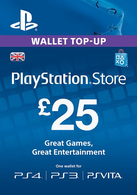 Playstation Network Card - £25 (PS Vita/PS3/PS4) cheap key to download
